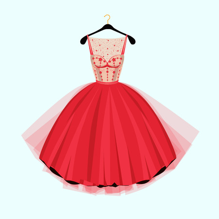 Red vintage style party dress with flowers decoration. Illustration