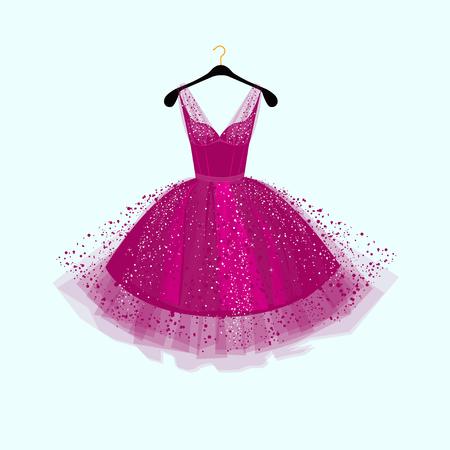 紫パーティー ドレス イラスト