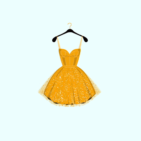 Yellow and golden party dress.
