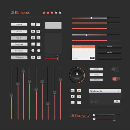 interface elements: User interface elements: Buttons, Switchers, On, Off, Player, Audio, Video.