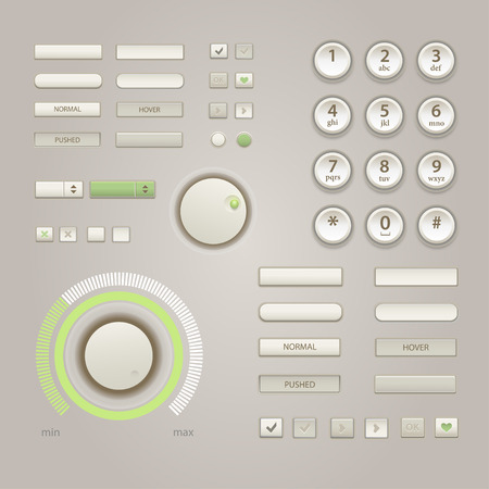 audio video: User interface elements: Buttons, Switchers, On, Off, Player, Audio, Video, Keypad for phone.