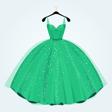 special event: Green dress for special event on hanger. Party dress.