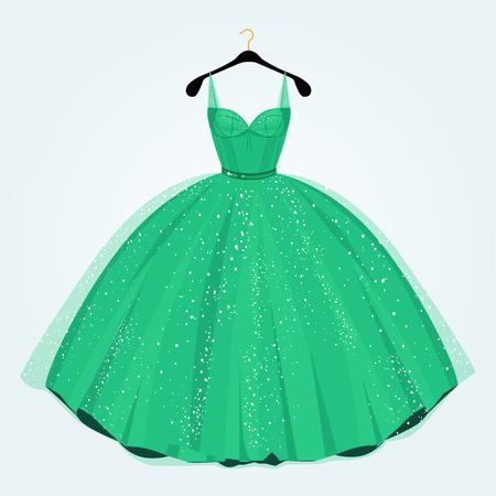 vestido verde para el evento especial en la percha. Vestido de fiesta.