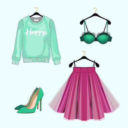 lace bra: Set of women fashion clothes for shopping catalog.   sweatshirt, skirt,shoes, lace bra. Fashion illustration. Illustration