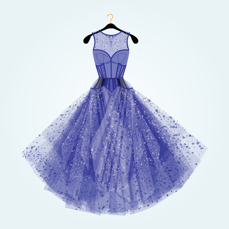 rhinestones: Blue dress with rhinestones. Fashion illustration. Blue dress for special event. Illustration