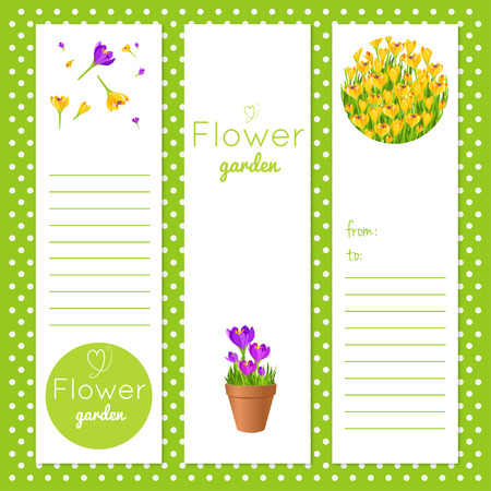 Set of vector tags with garden flowers.Gift tags and notes. Stock vector illustration.Note paper