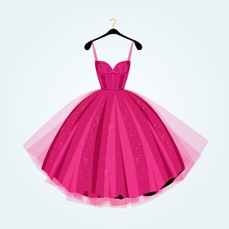 fiesta de color rosa ilustración dress.Prom dress.Vector