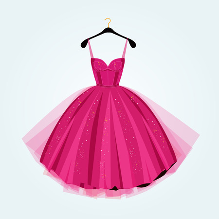 Pink party dress.Prom dress.Vector illustration Çizim
