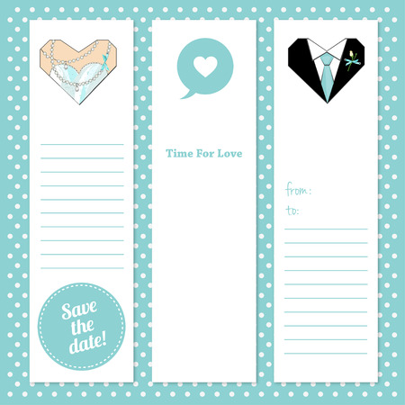 prom night: Set of vector tags for wedding or Prom party invitation.Gift tags and notes. Stock vector illustration. Hearts illustration,printable for wedding invitations and cards.Groom and Bride hearts.