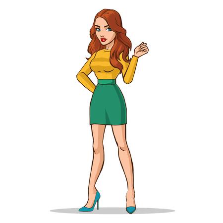 Fashion vector illustration. Beautiful girl Illustration