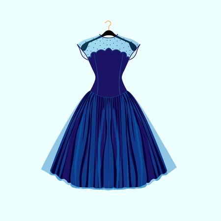 Blue retro style dress. Vector fashion illustration.
