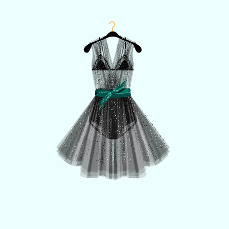 Black dress for special event. Dress with lingerie elements and rhinestones.Vector fashion illustration.