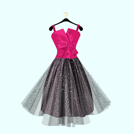 Pink and dark party dress with bow. Vector fashion illustration.  イラスト・ベクター素材