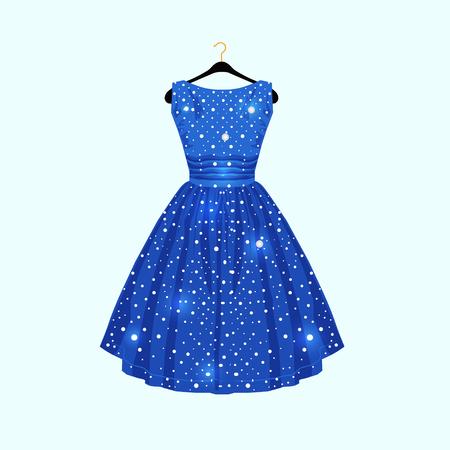 Blue dress with white dots. Vector fashion illustration.  イラスト・ベクター素材