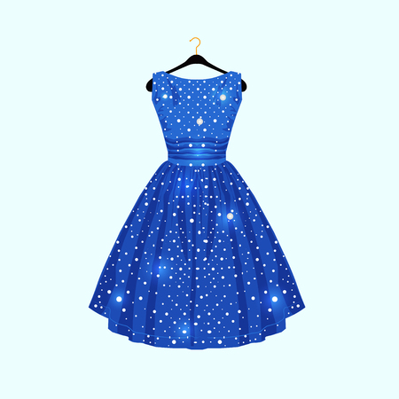 Blue dress with white dots. Vector fashion illustration. Illustration