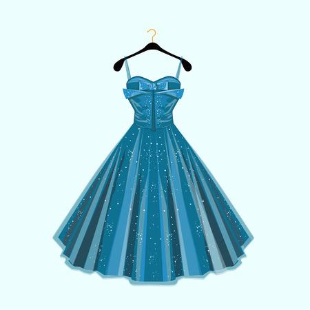 Fashion vector illustration. Blue party dress.  イラスト・ベクター素材