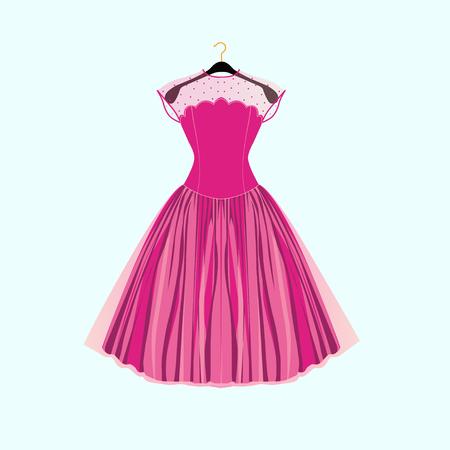 Pink party dress.Prom dress.Vector illustration  イラスト・ベクター素材