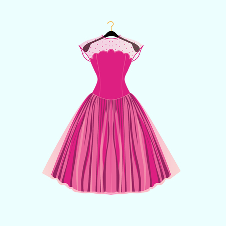 Pink party dress.Prom dress.Vector illustration Illustration
