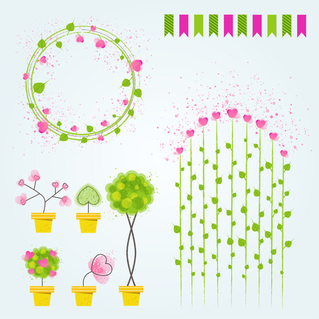 Set of vector decorative elements.Flowers in pots with flags, printable files for holiday cards and wedding invitations.  イラスト・ベクター素材