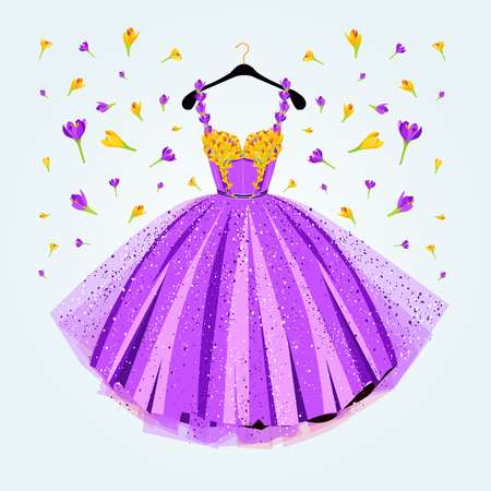 Party purple dress with flower decor. Fashion vector illustration