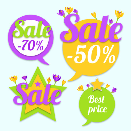 Sale Tags with stars and flowers. Best price and special offer. Vector illustration.  イラスト・ベクター素材