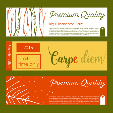 Set of vector banners with organic decor.Gift banner sand cards with organic decor elements. Stock vector illustration.Premium shopping gift cards
