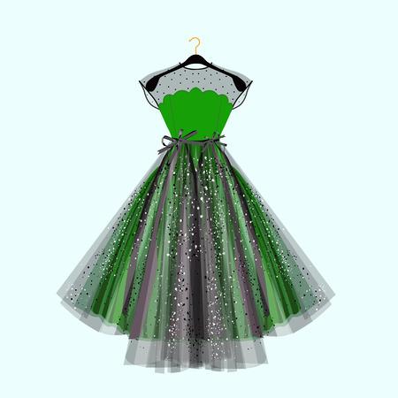 Hermoso vestido de fiesta. vestido verde con diamantes de imitación. Ejemplo de la moda del vector. Vestirse para un evento especial.