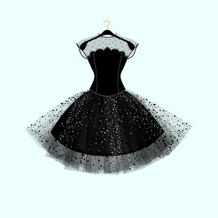 Vestido negro. Vestido de fiesta. Vector ilustración de moda