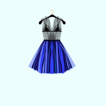 Beautiful party dress. Black dress with rhinestones. Fashion illustration  イラスト・ベクター素材