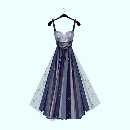 Long dress for special event. Dress with rhinestones  Fashion vector illustration Imagens - 83427545