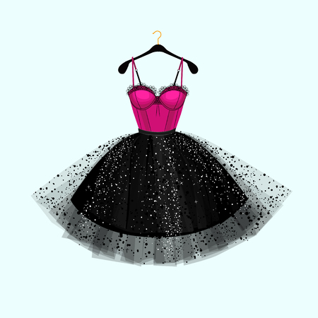 Vector fashion illustration. Dress for special event. Pink and black dress.