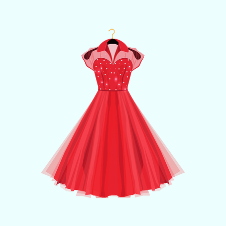 Retro style red party dress. Vector fashion illustration. Dress with pearls decor.