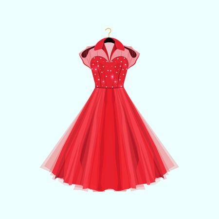 Vestido de partido rojo del estilo retro. Ilustración de la moda del vector. Vestido con decoración de perlas.