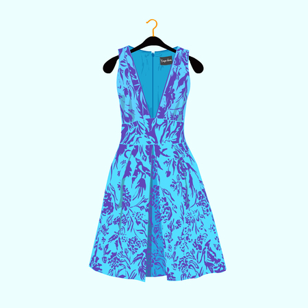 Party dress with flower print.Fashion illustration for shop catalog.