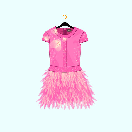 show window: Pink party dress with feather decor. Fashion illustration for shopping catalog.