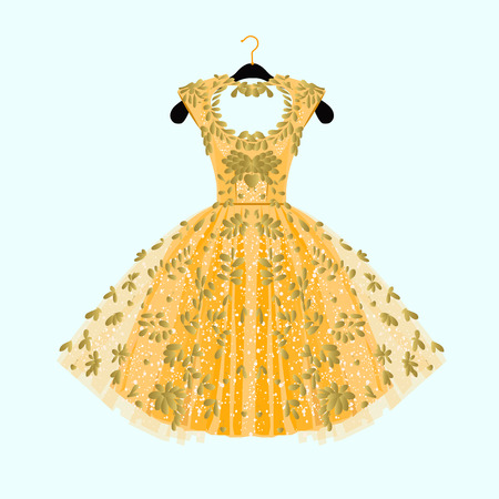 dressing: Gorgeous golden dress. Party dress with fancy decor.Fashion illustration. Illustration