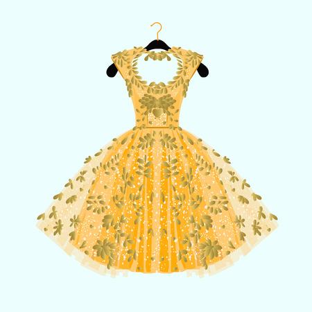 Prachtige gouden jurk. Feestjurk met mooie decor. Mode illustratie.