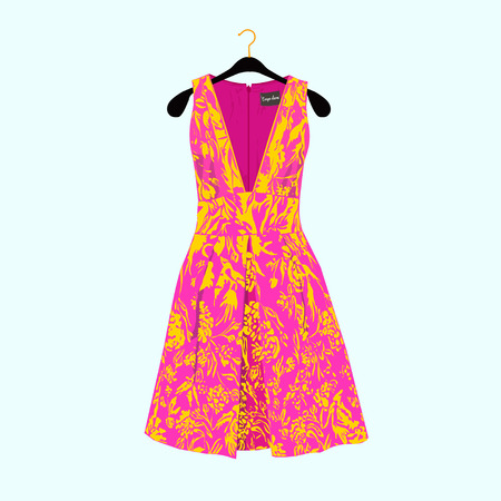Beautiful summer dress with floral print.Fashion illustration