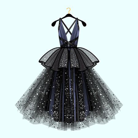 Gorgeous party dress. Party dress with fancy decor.Fashion illustration