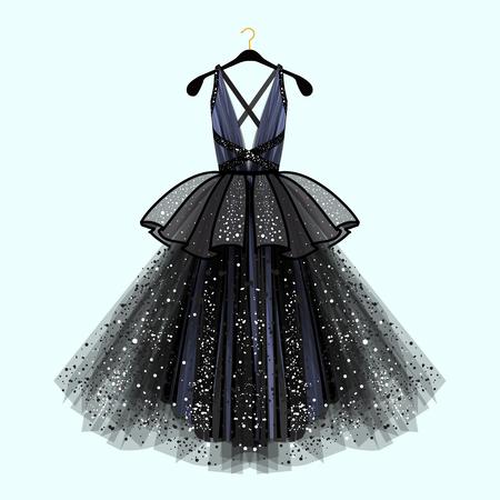 Wspaniała sukienka na imprezę. Sukienka na imprezę z fantazyjnym wystrojem. Ilustracja moda Ilustracje wektorowe