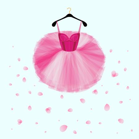 Ballet tutu dress. Pink vector dress for ballet dencer. Fashion illustration