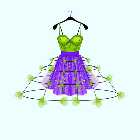 Ultraviolet and fresh green party dress with flower decor. Fashion illustration for party invitation