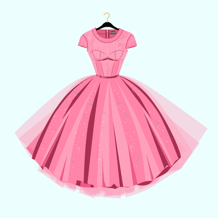 Party Prom dress with fancy decor.Fashion illustration