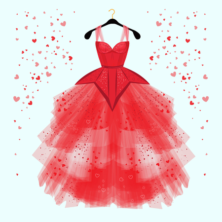 Valentine day party dress with fancy heart decor.Fashion illustration