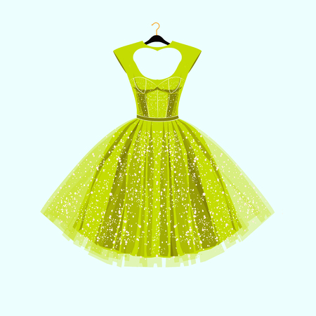 Party lime green dress with fancy decor.Fashion illustration
