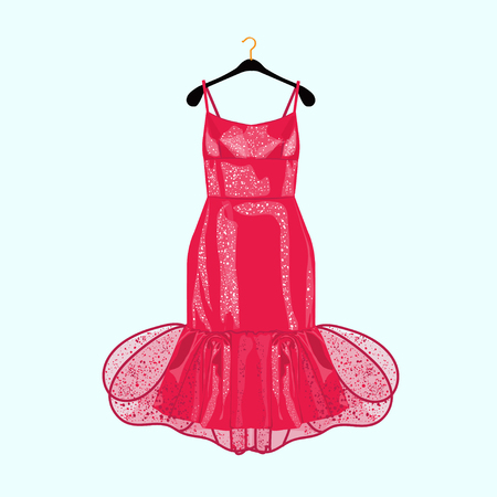 Red party dress with decor. Fashion illustration for shopping catalog  イラスト・ベクター素材