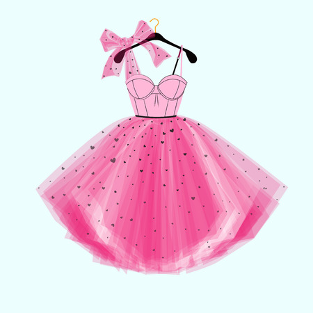 Pink party prom dress with bow. Fashion illustration for invitation card Illustration