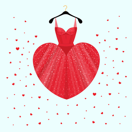 Dress for Valentine's Day party card with heart skirt. Vector Fashion illustration