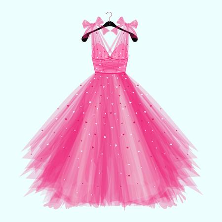 Abito da festa di compleanno rosa con fiocco. Illustrazione di moda per la carta di invito Vettoriali