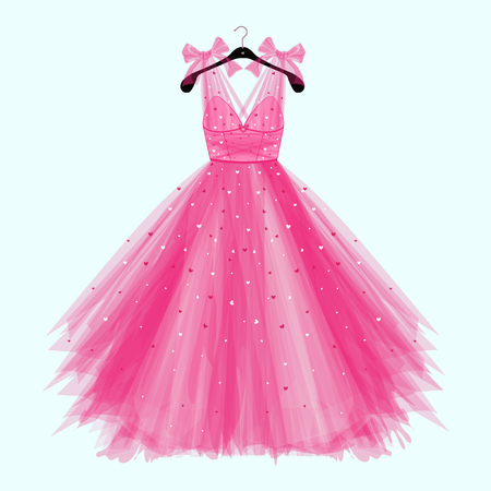 Roze verjaardag feestjurk met strik. Mode-illustratie voor uitnodigingskaart